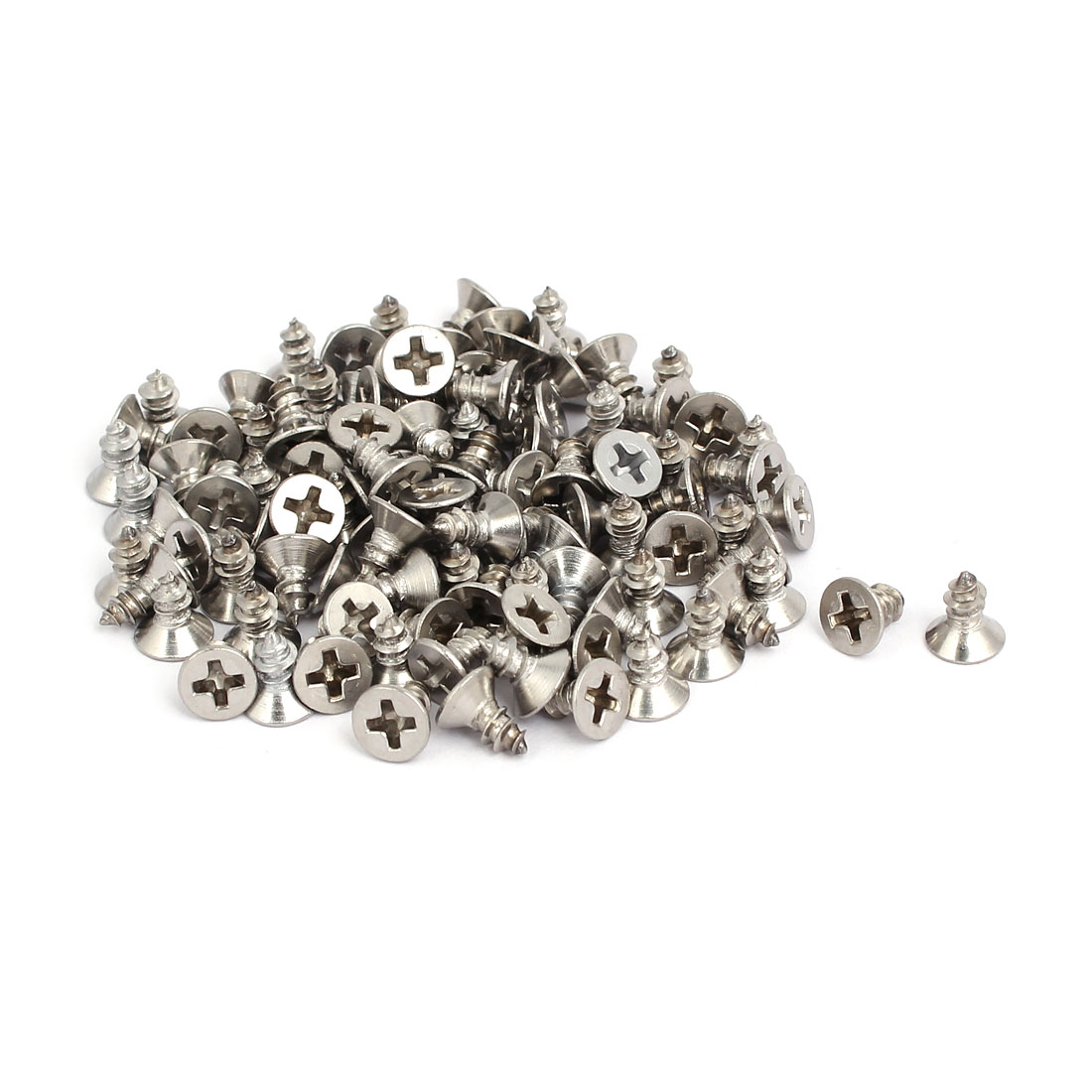 M4x8mm 304 Stainless Steel Phillips Drive Flat Head Self Tapping Screws 100pcs