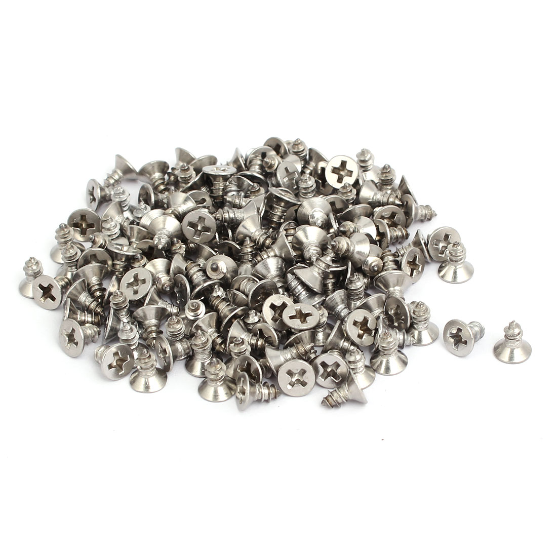 M4x8mm 304 Stainless Steel Phillips Drive Flat Head Self Tapping Screws 150pcs