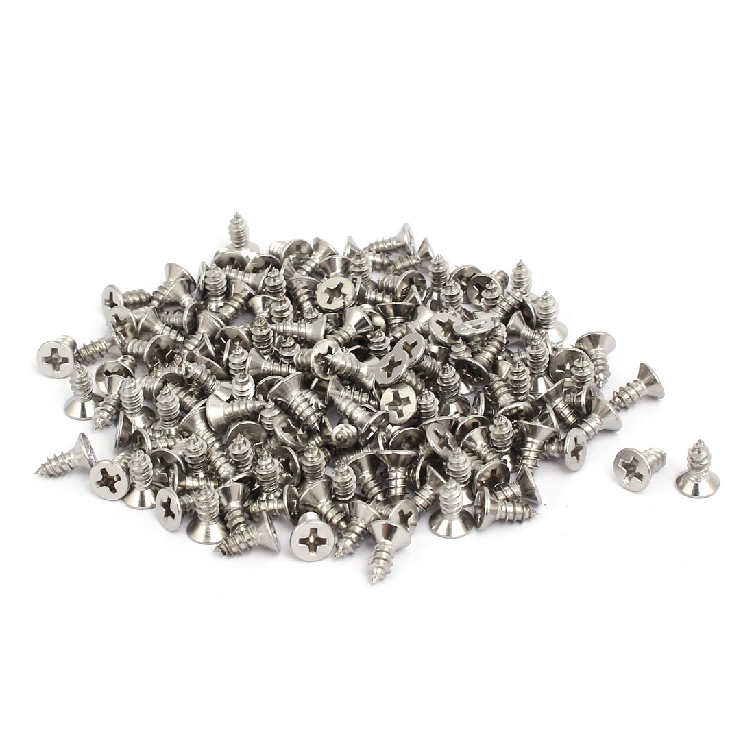 M4x10mm 304 Stainless Steel Phillips Drive Flat Head Self Tapping Screws 250pcs