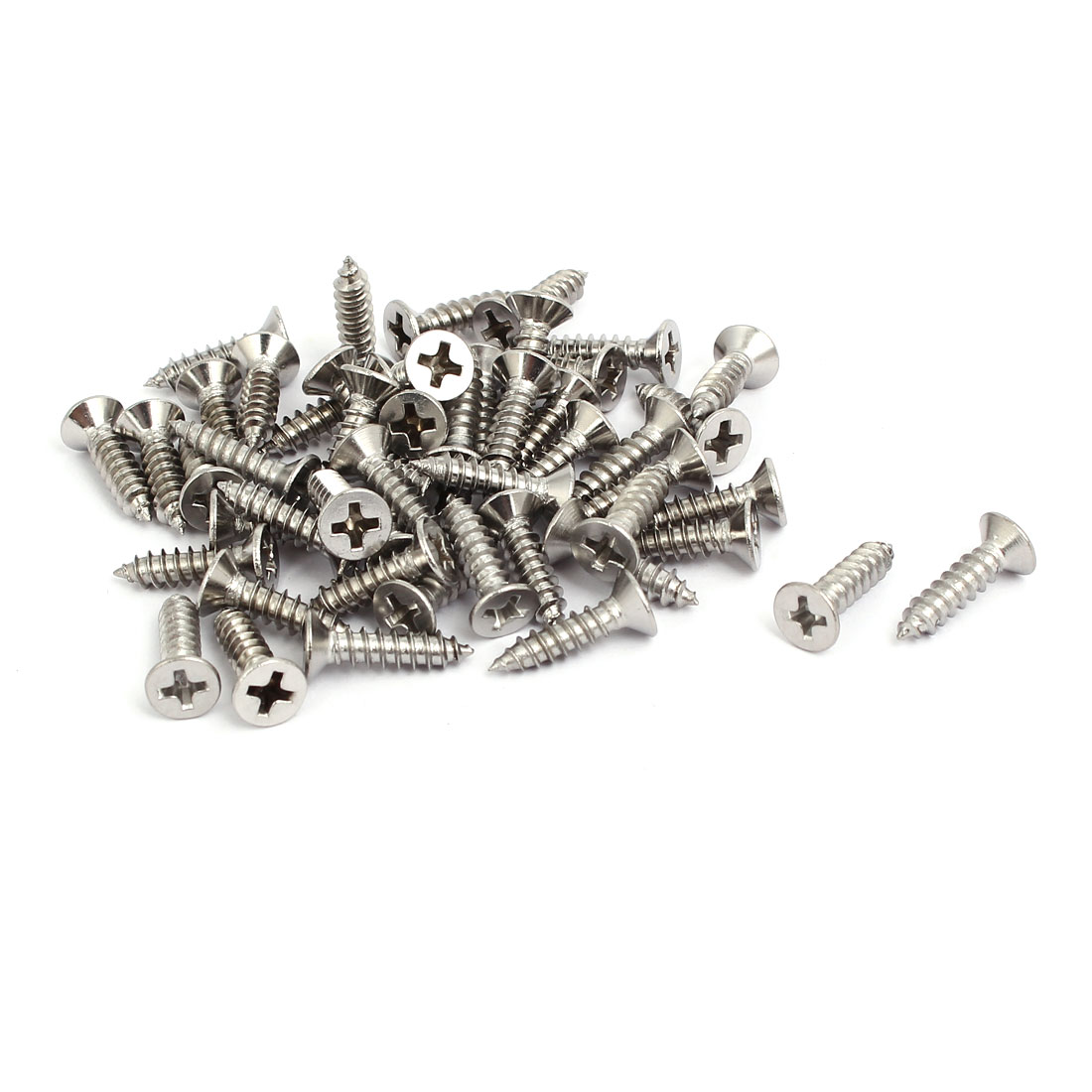 M4x16mm 304 Stainless Steel Phillips Drive Flat Head Self Tapping Screws 50pcs