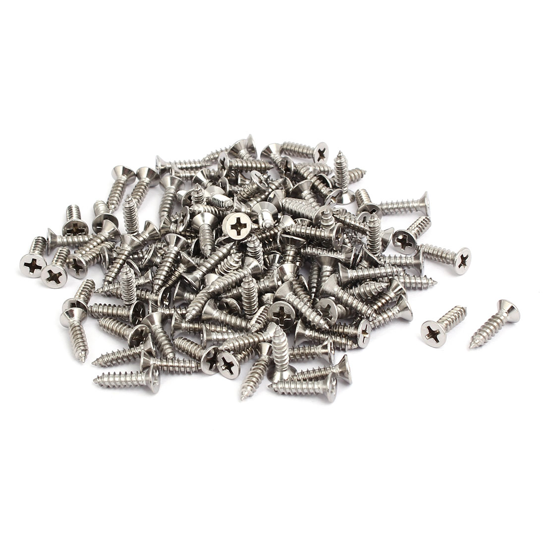 M4x16mm 304 Stainless Steel Phillips Drive Flat Head Self Tapping Screws 150pcs