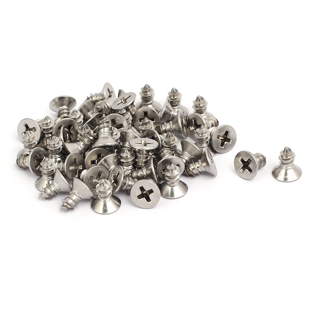 M5x10mm 304 Stainless Steel Phillips Drive Flat Head Self Tapping Screws 50pcs