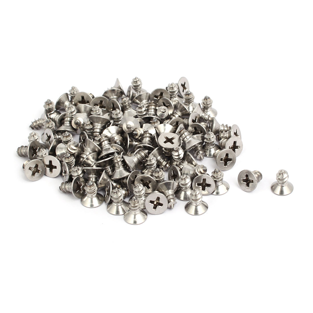 M5x10mm 304 Stainless Steel Phillips Drive Flat Head Self Tapping Screws 100pcs