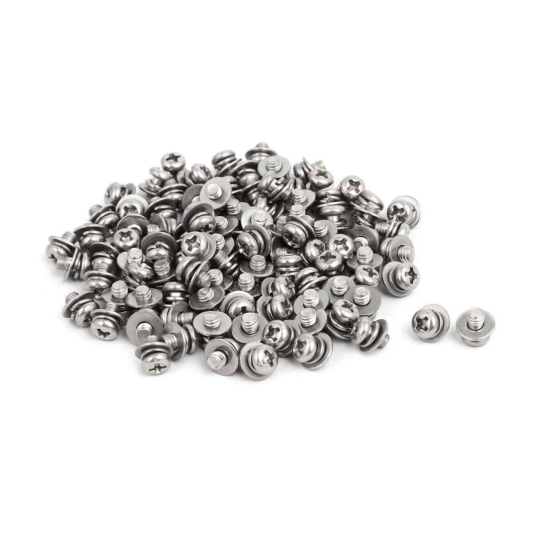 M4x6mm 304 Stainless Steel Phillips Pan Head Bolt Screw w Washer 100 Sets