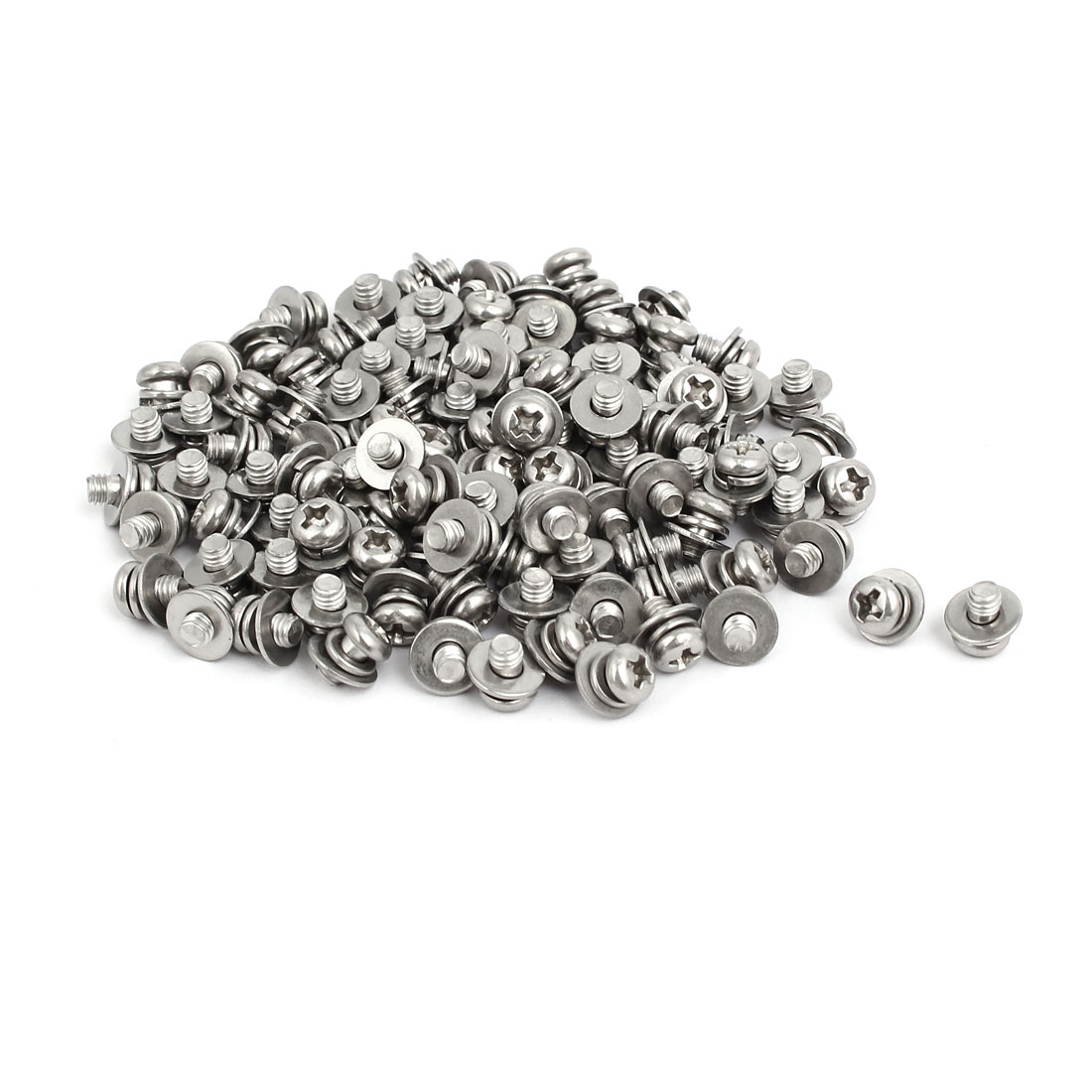 M4x6mm 304 Stainless Steel Phillips Pan Head Bolt Screw w Washer 150 Sets