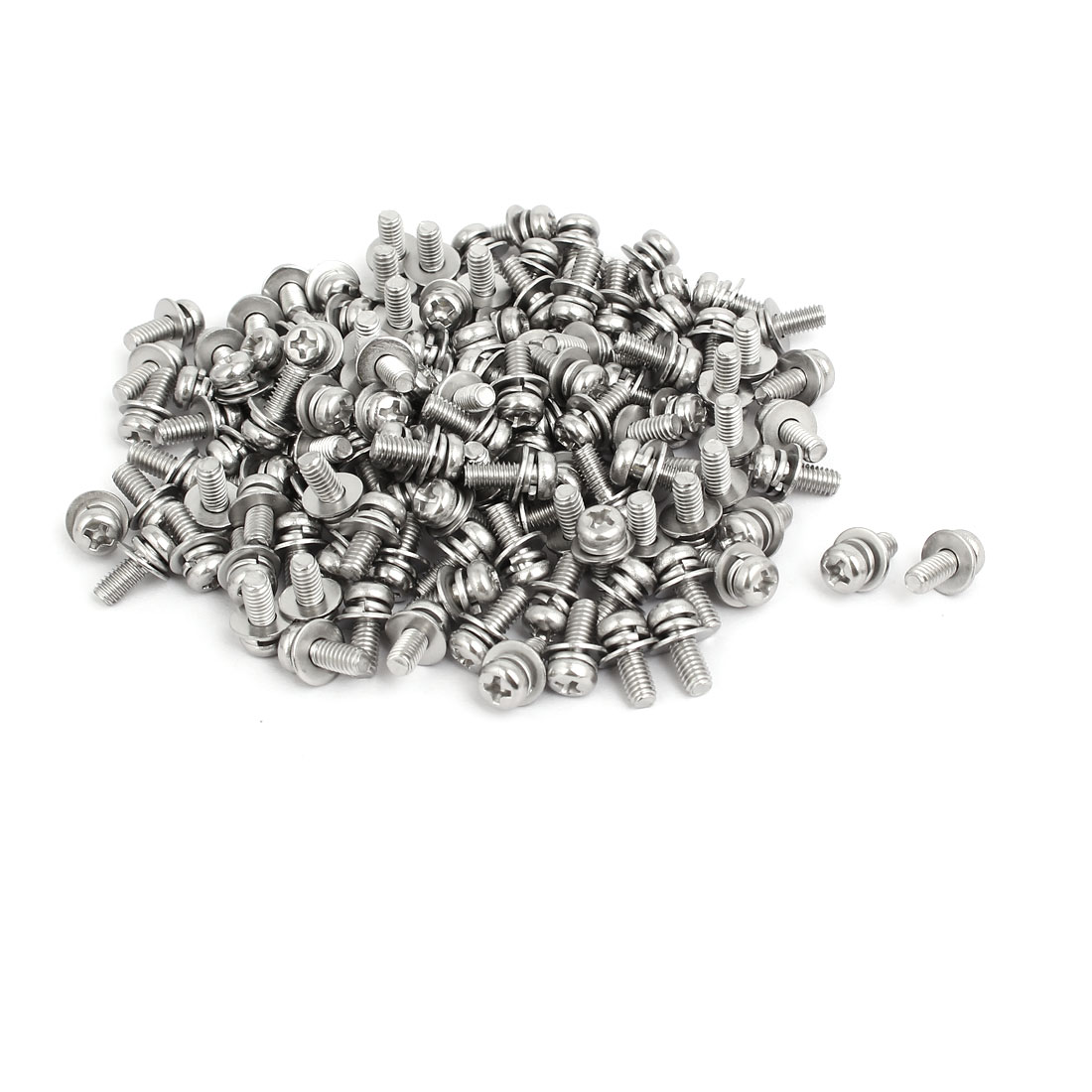 M4x10mm 304 Stainless Steel Phillips Pan Head Bolt Screw w Washer 150 Sets