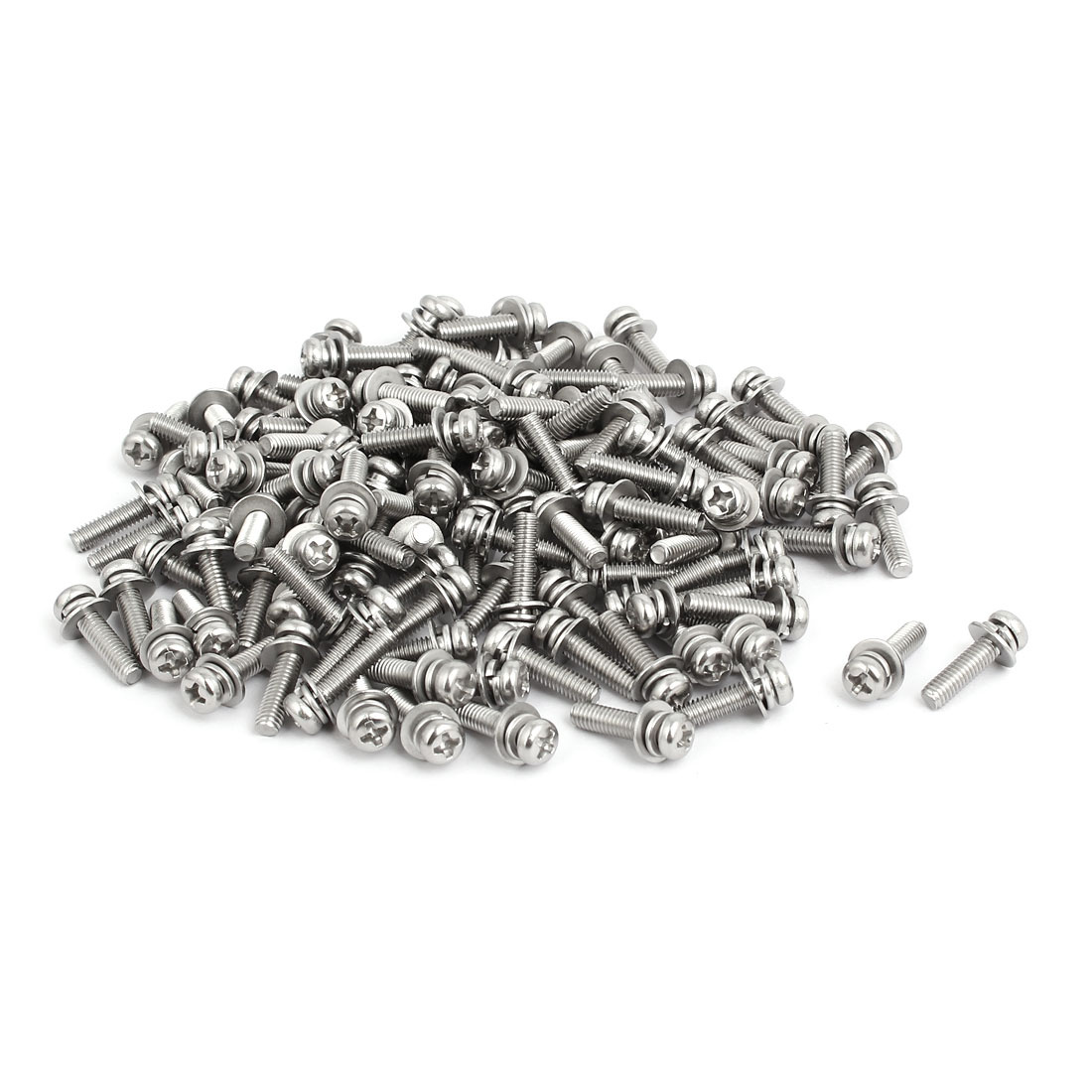 M4x16mm 304 Stainless Steel Phillips Pan Head Bolt Screw w Washer 150 Sets
