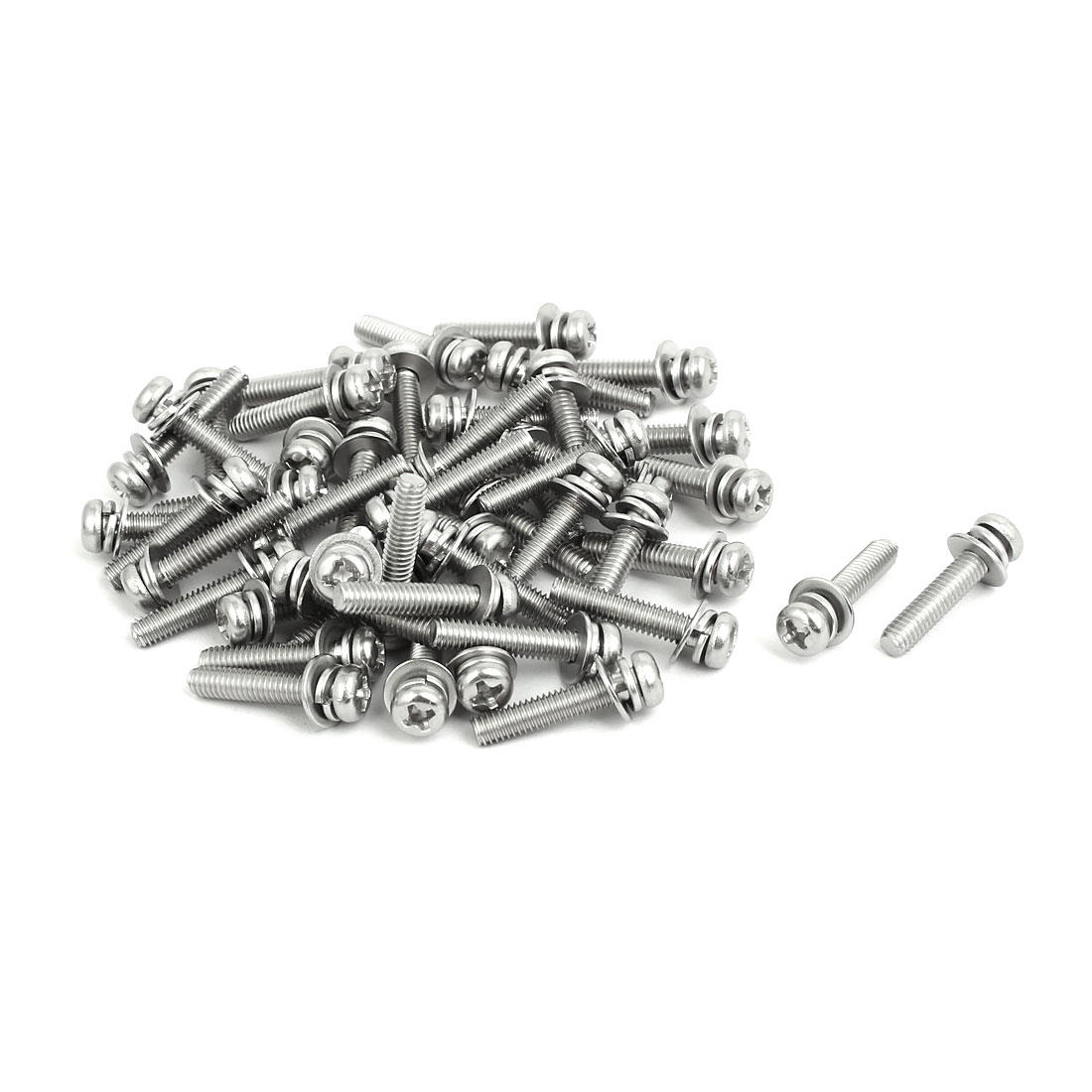 M4x20mm 304 Stainless Steel Phillips Pan Head Bolt Screw w Washer 50 Sets
