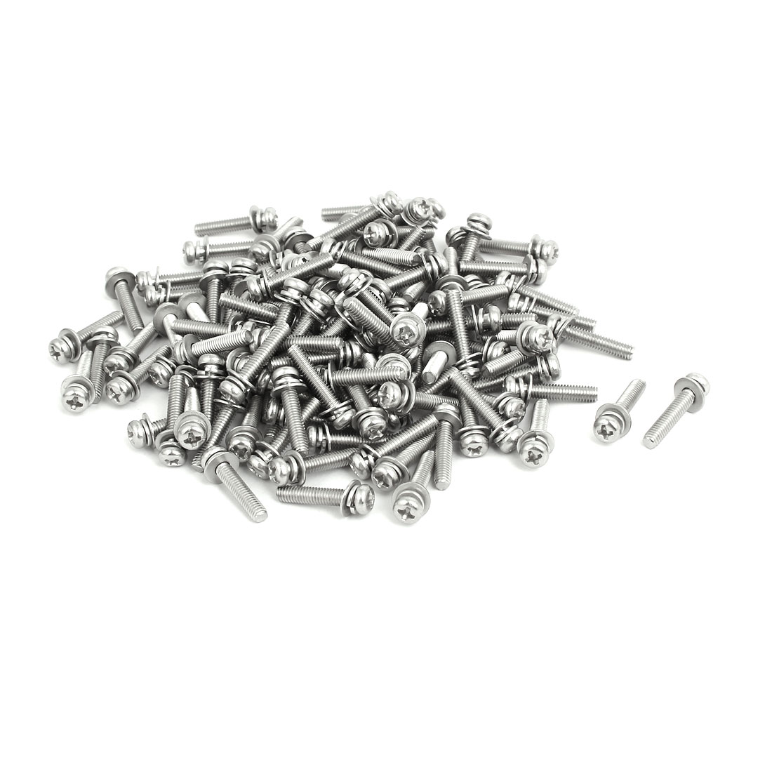 M4x20mm 304 Stainless Steel Phillips Pan Head Bolt Screw w Washer 150 Sets