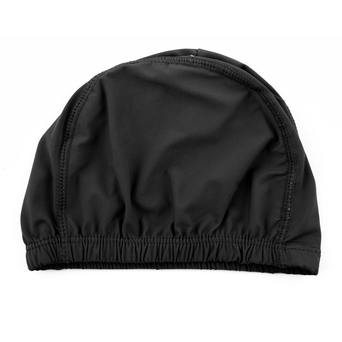 Unisex Polyester Dome Shaped Water Resistant Stretchable Swimming Cap Portable Bathing Hat Black