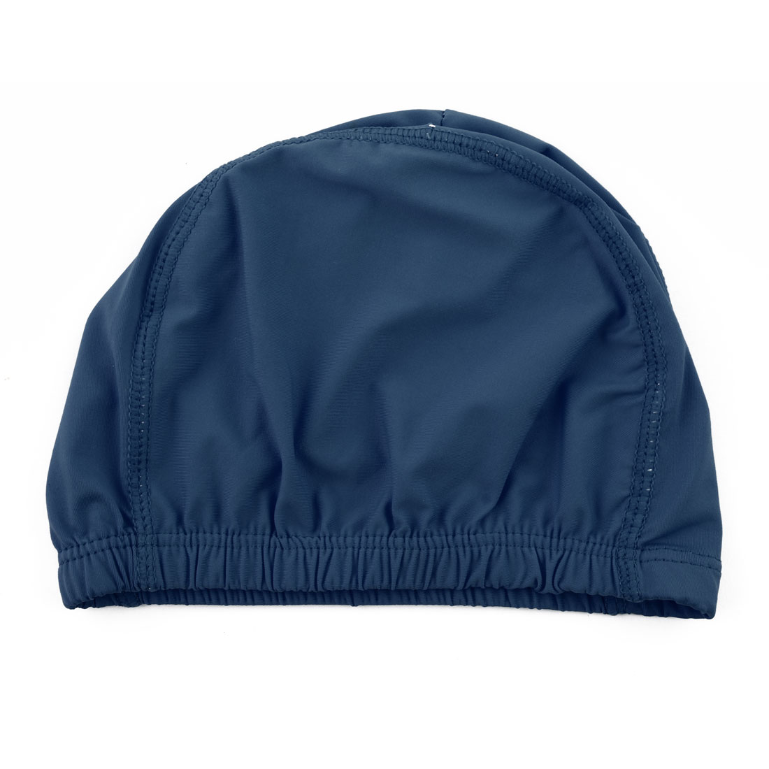 Unisex Polyester Dome Shaped Water Resistant Stretchable Swimming Cap Portable Bathing Hat Navy Blue