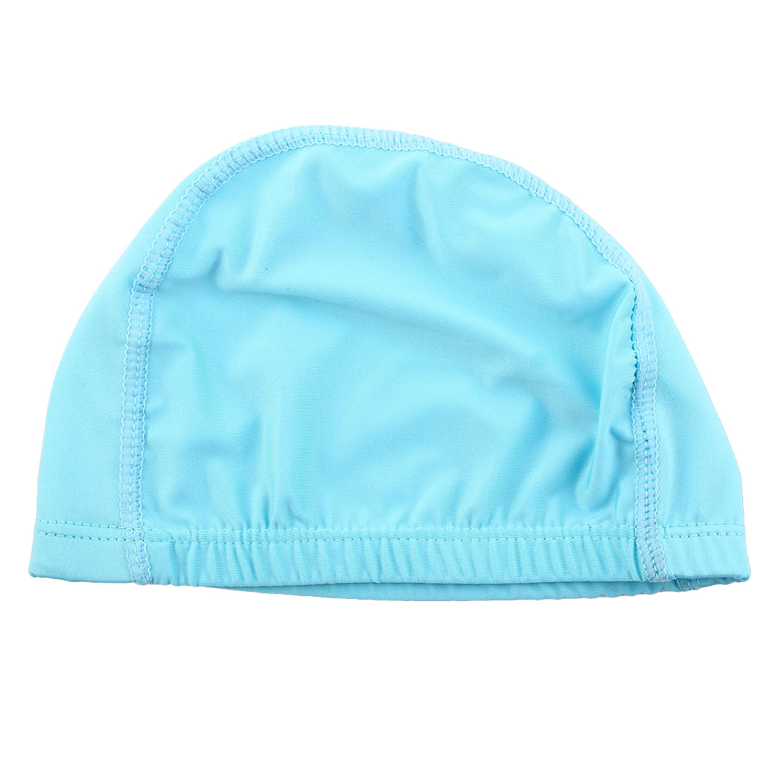 Unisex Polyester Dome Shaped Water Resistant Stretchable Swimming Cap Portable Bathing Hat Sky Blue