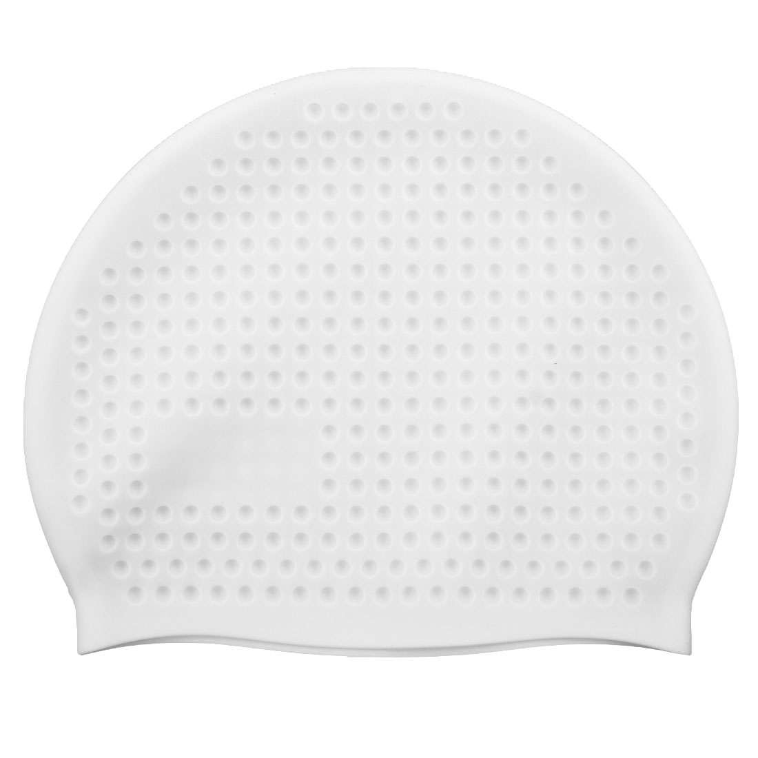 Adult Silicone Dome Shaped Water Resistant Elastic Swimming Cap Portable Bathing Hat White