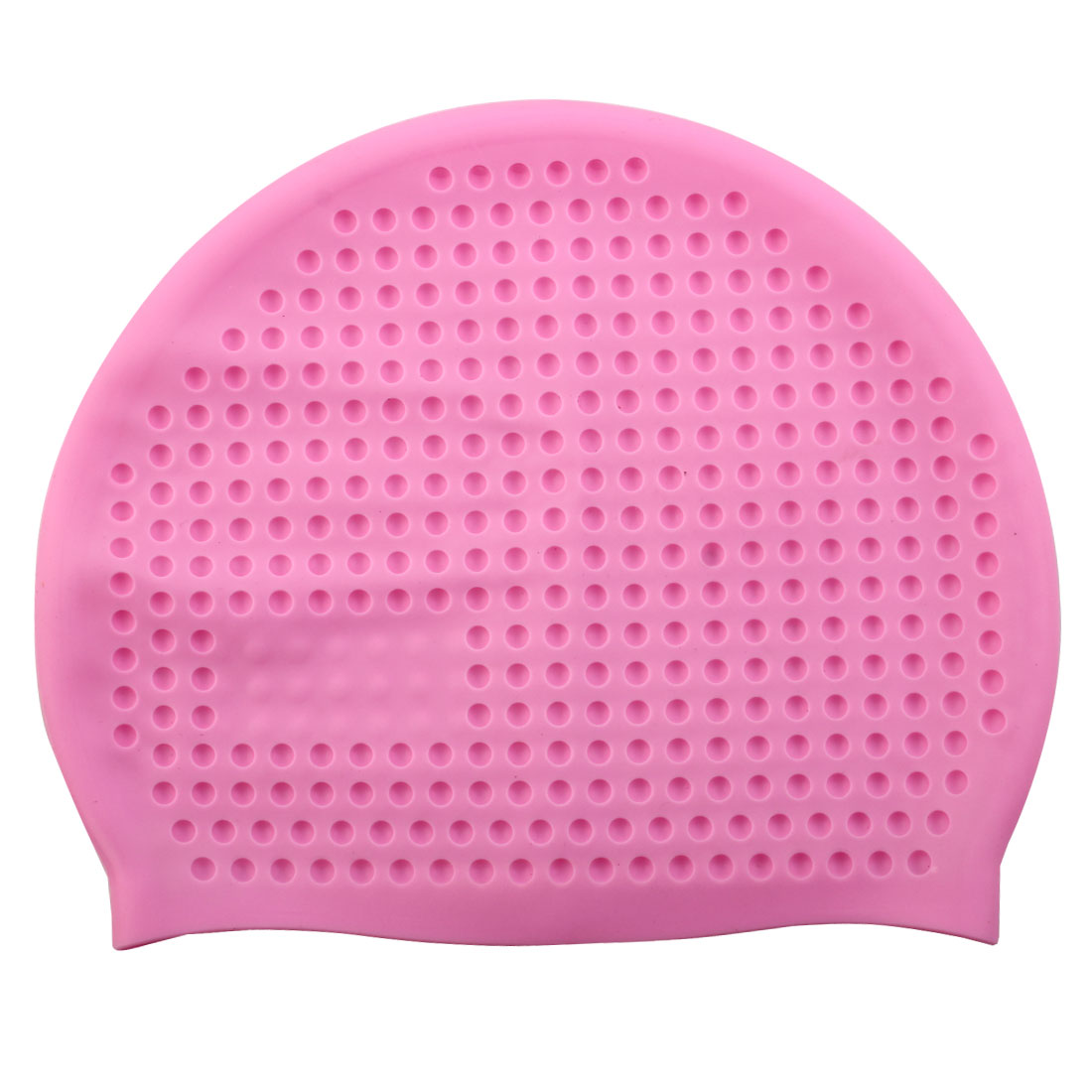 Adult Silicone Dome Shaped Water Resistant Elastic Swimming Cap Portable Bathing Hat Pink