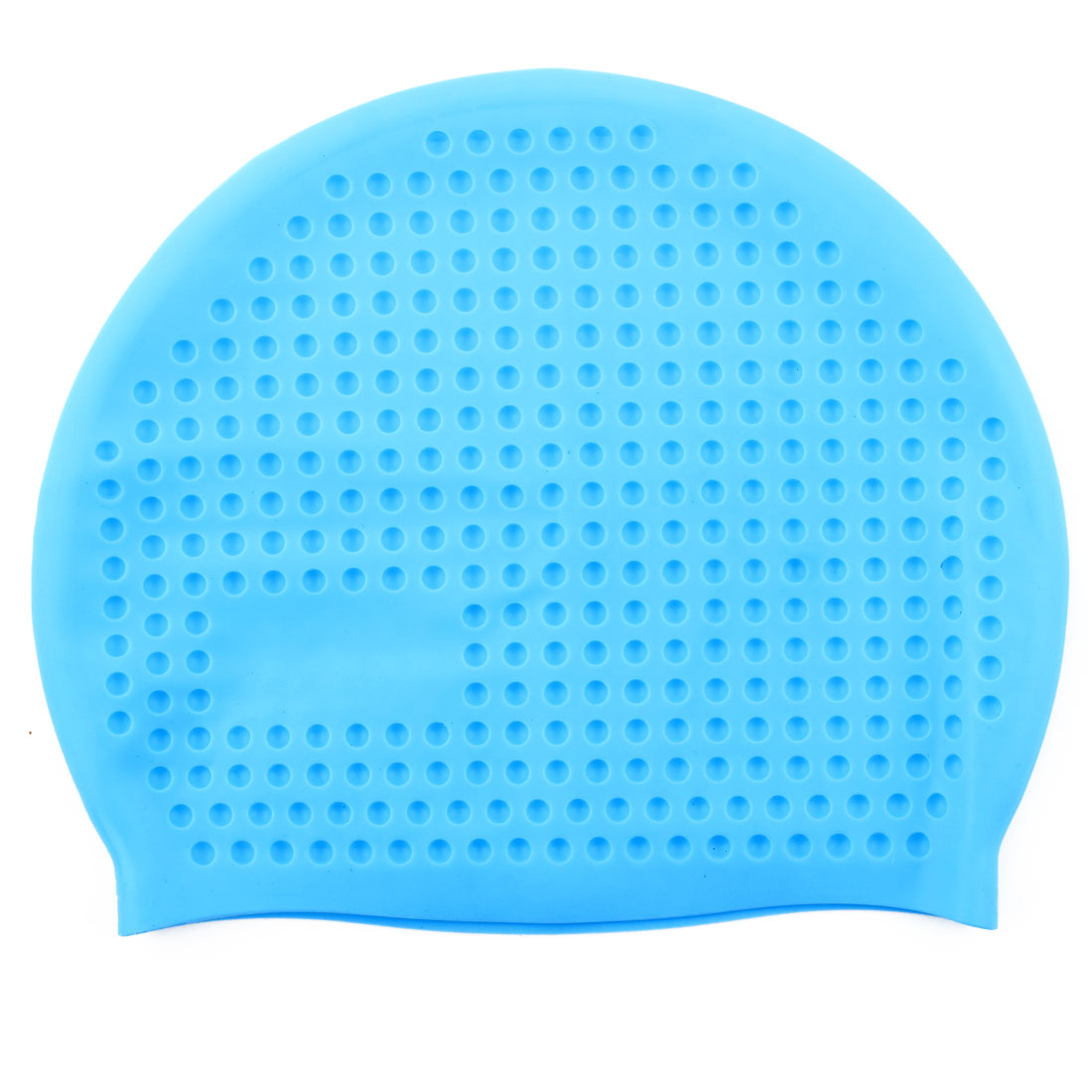 Adult Silicone Dome Shaped Water Resistant Elastic Swimming Cap Portable Bathing Hat Sky Blue