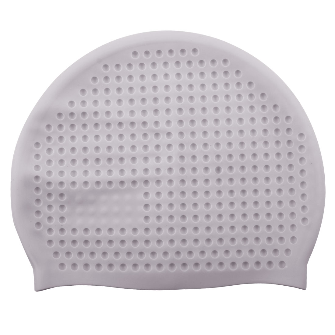 Adult Silicone Dome Shaped Water Resistant Elastic Swimming Cap Portable Bathing Hat Gray