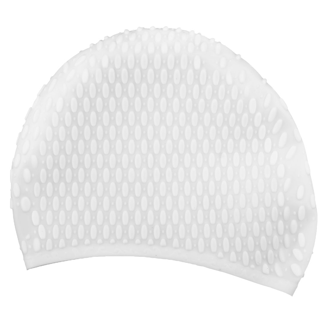 Adult Unisex Silicone Dome Shape Anti-slip Elastic Swimming Cap Underwater Bathing Hat White
