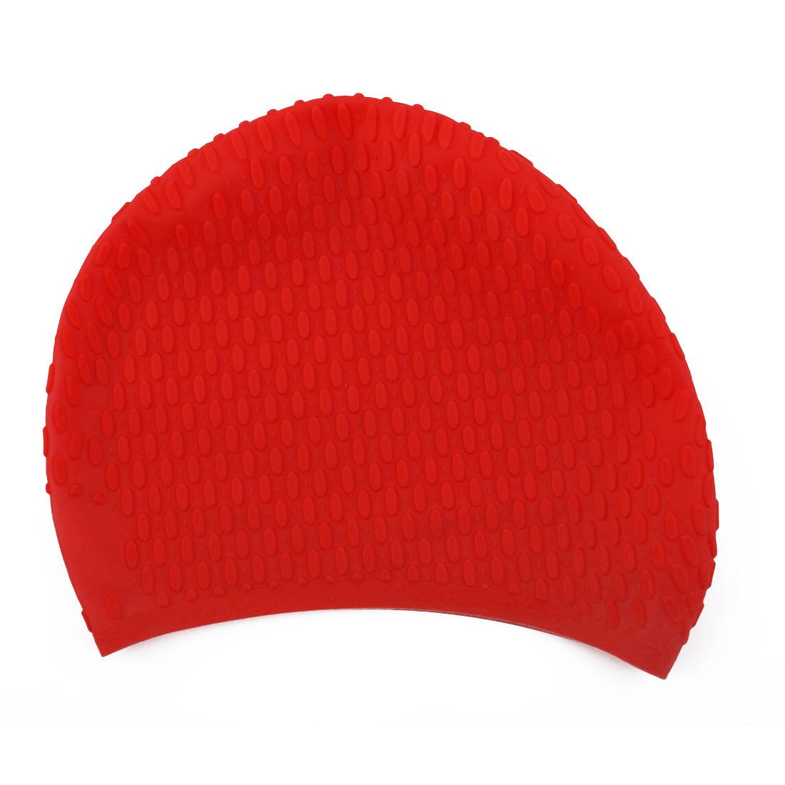 Adult Unisex Silicone Dome Shape Anti-slip Elastic Swimming Cap Underwater Bathing Hat Red
