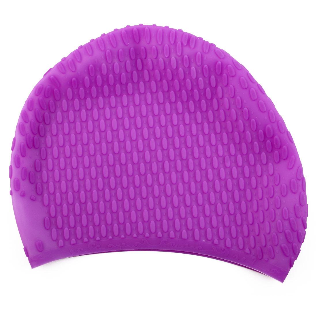 Adult Unisex Silicone Dome Shape Anti-slip Elastic Swimming Cap Underwater Bathing Hat Purple