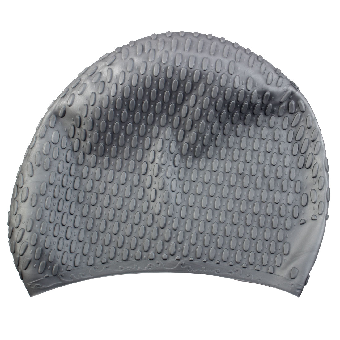 Adult Unisex Silicone Dome Shape Anti-slip Elastic Swimming Cap Underwater Bathing Hat Gray