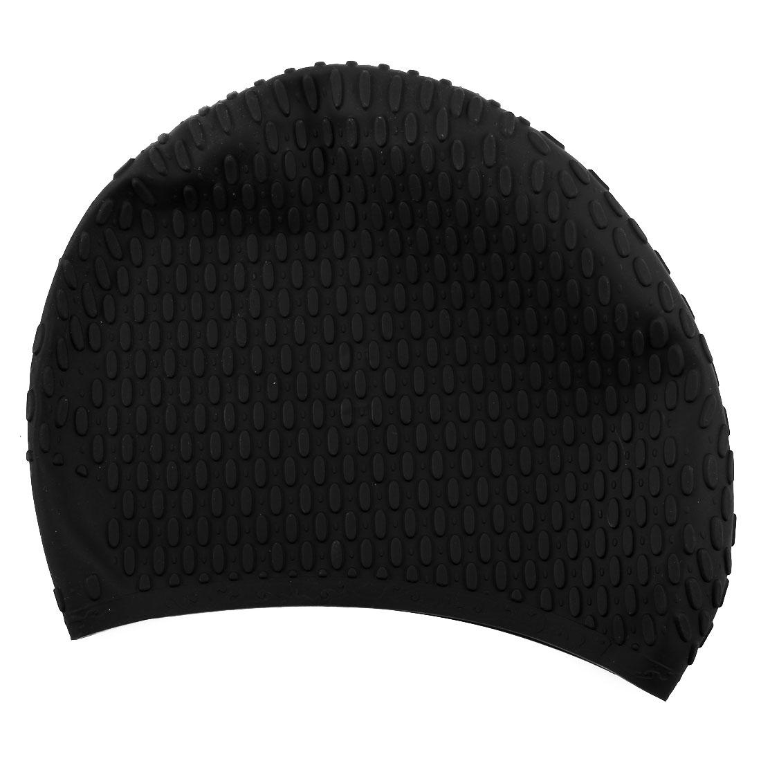 Adult Unisex Silicone Dome Shape Anti-slip Elastic Swimming Cap Underwater Bathing Hat Black
