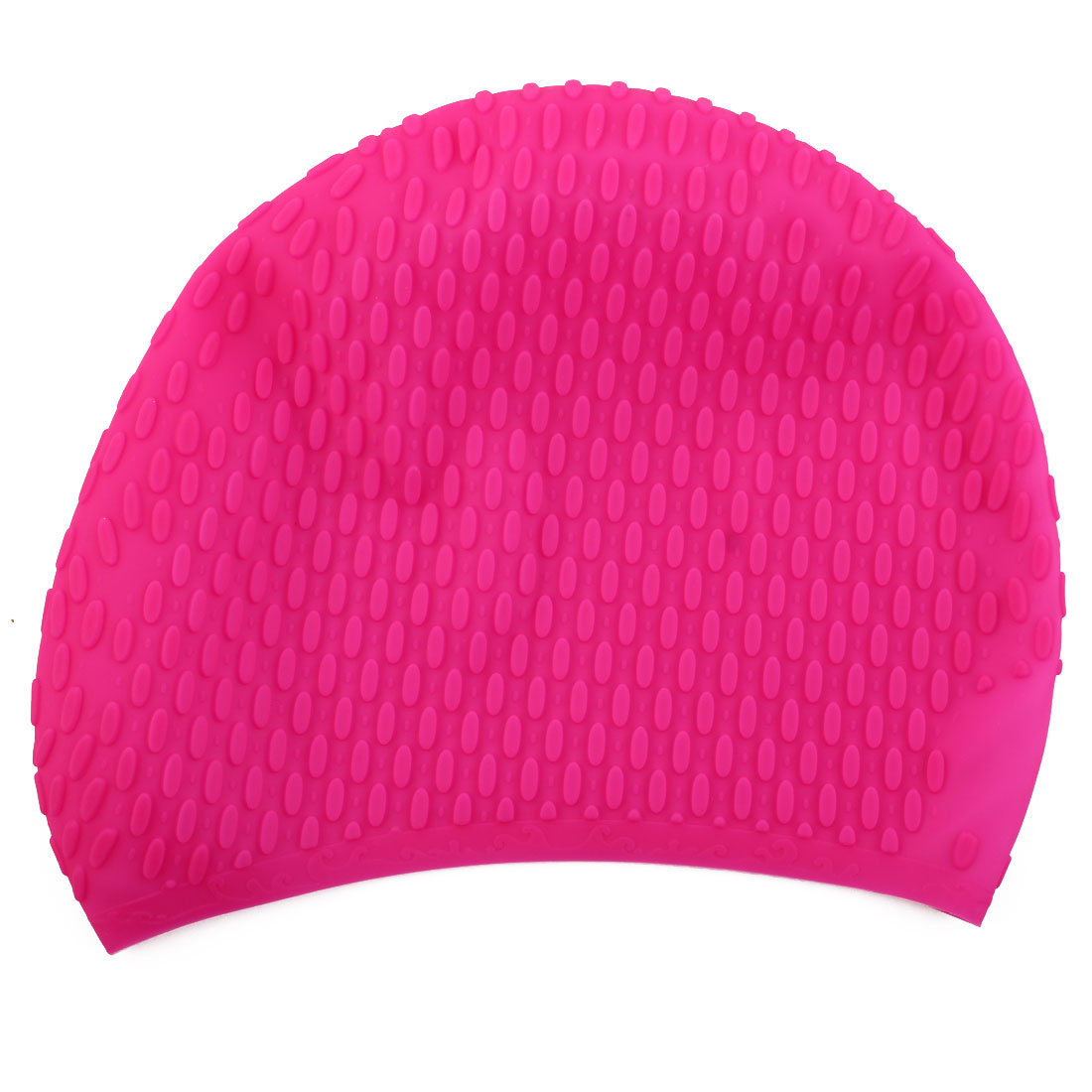 Adult Unisex Silicone Dome Shape Anti-slip Elastic Swimming Cap Underwater Bathing Hat Fuchsia