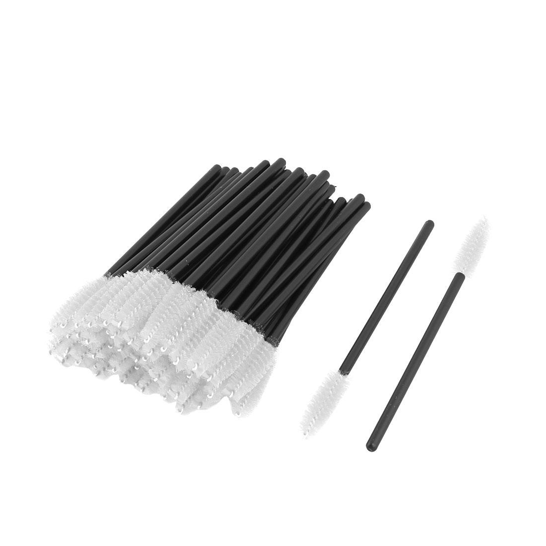 Women Plastic Makeup Tool Disposable Eyelash Eyebrow Mascara Brush White 50pcs