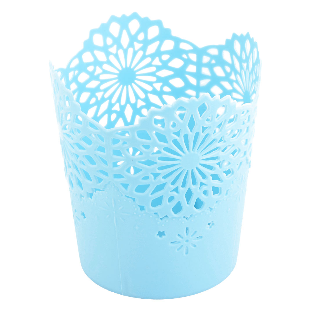 Home Office Plastic Hollow Out Design Stationery Storage Basket Holder Blue