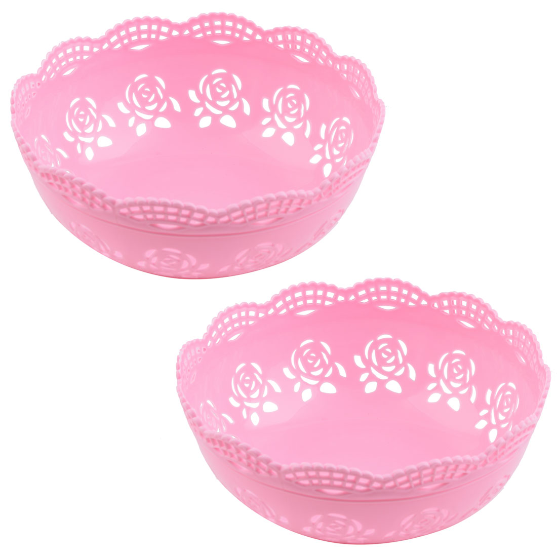 Home Desktop Plastic Hollow Out Rose Design Sundries Jewelry Storage Basket Pink 2pcs
