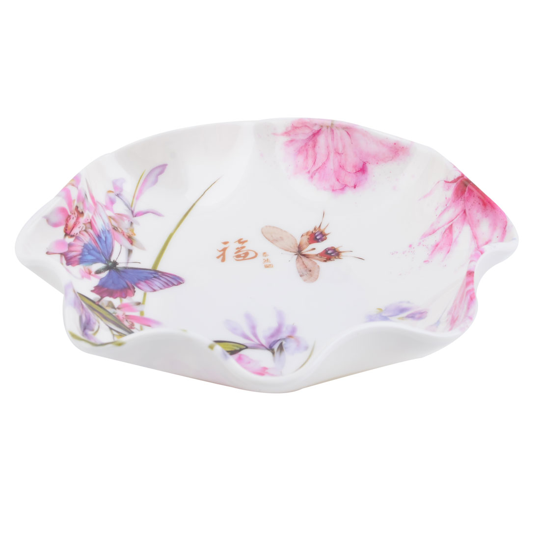 Household Kitchen Plastic Butterfly Pattern Peach Banana Fruit Candy Snack Plate