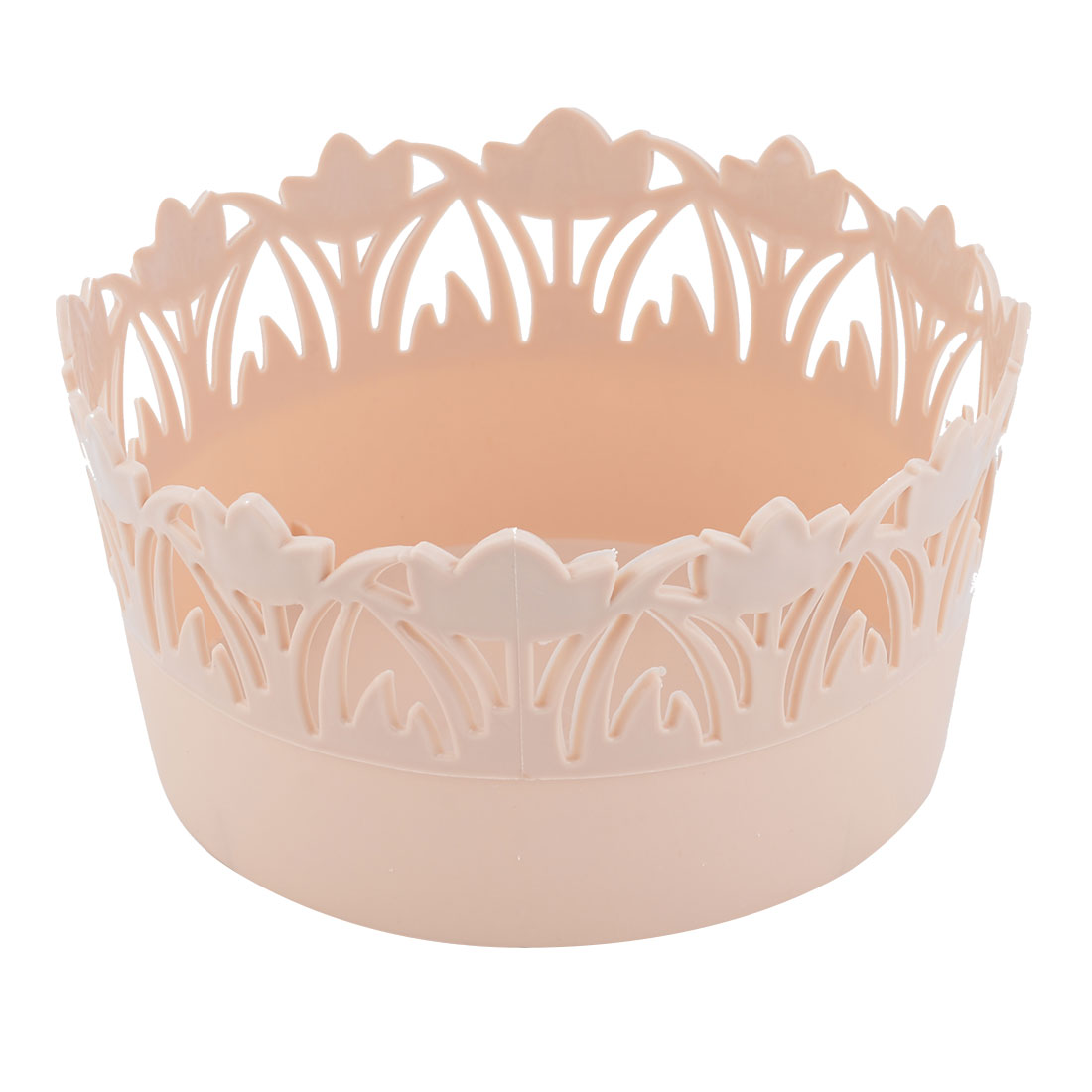 Home Plastic Flower Design Hollow Out Holder Storage Basket Box Container Beige