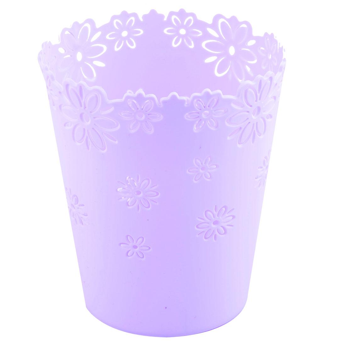 Home Office Desktop Plastic Hollow Out Flower Design Trinket Storage Basket Light Purple