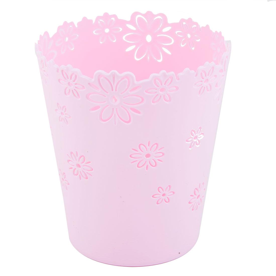 Home Office Desktop Plastic Hollow Out Flower Design Trinket Storage Basket Light Pink