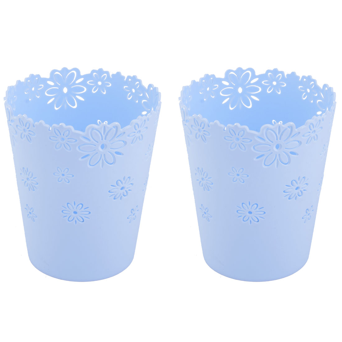 Home Table Plastic Hollow Out Flower Design Staionery Pen Storage Basket Sky Blue 2pcs