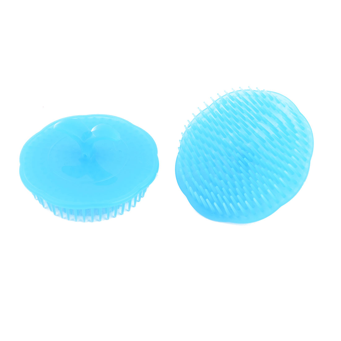 Household Plastic Handheld Head Hair Massaging Tool Shampoo Brush Blue 2pcs