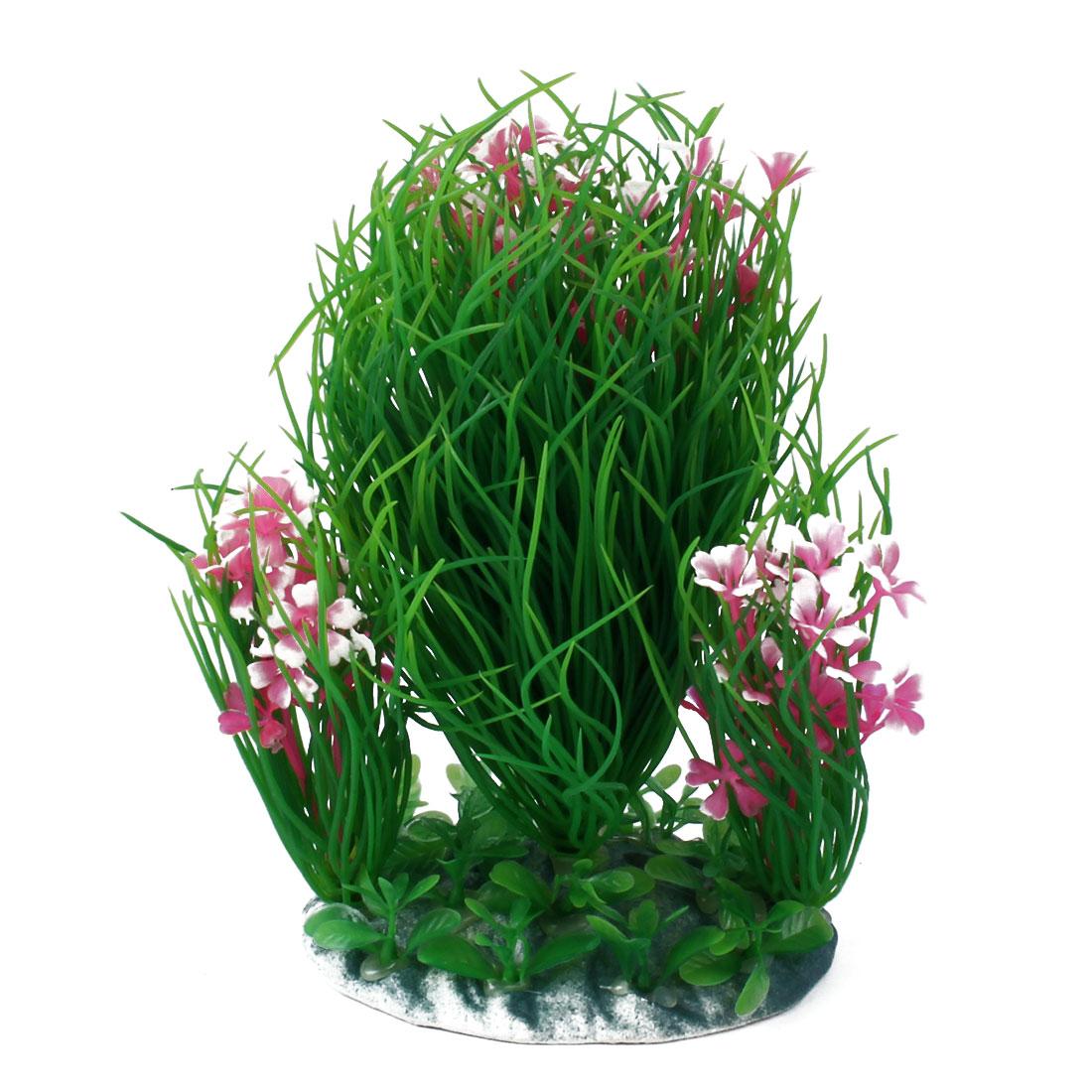 Aquarium Emulational Artificial Underwater Grass Flower Plant Decor Green Pink 19cm Height