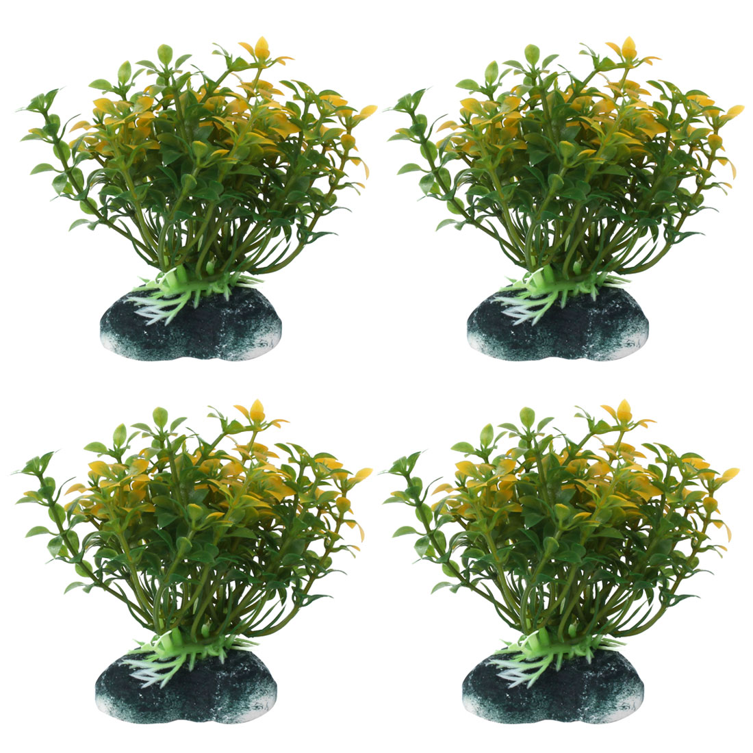 Fishbowl Aquarium Plastic Manmade Underwater Grass Plant Decor Green Yellow 4pcs