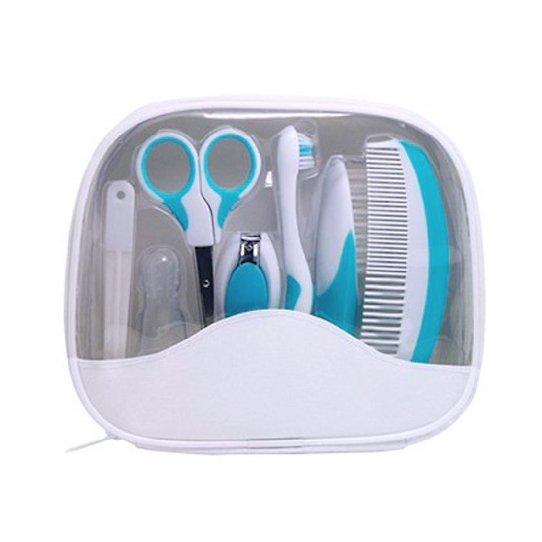 Baby Kid Toothbrush Nail Clipper Hair Comb Brush Care Grooming Set w/ Storage Bag