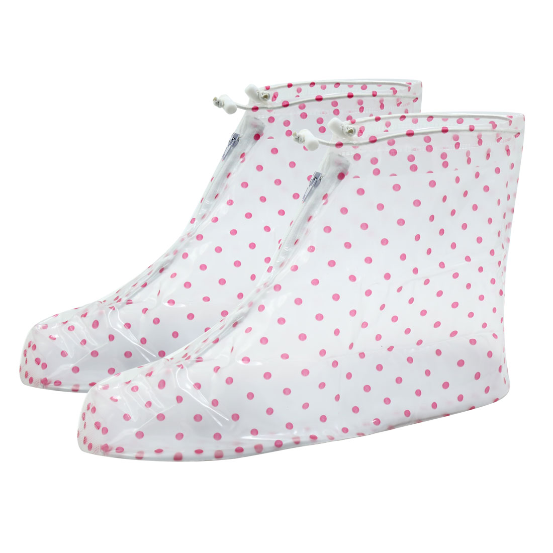 1 Pair Clear Pink Size XL Dots Pattern PVC Nonslip Reusable Waterproof Rain Shoes Cover Guard Overshoes