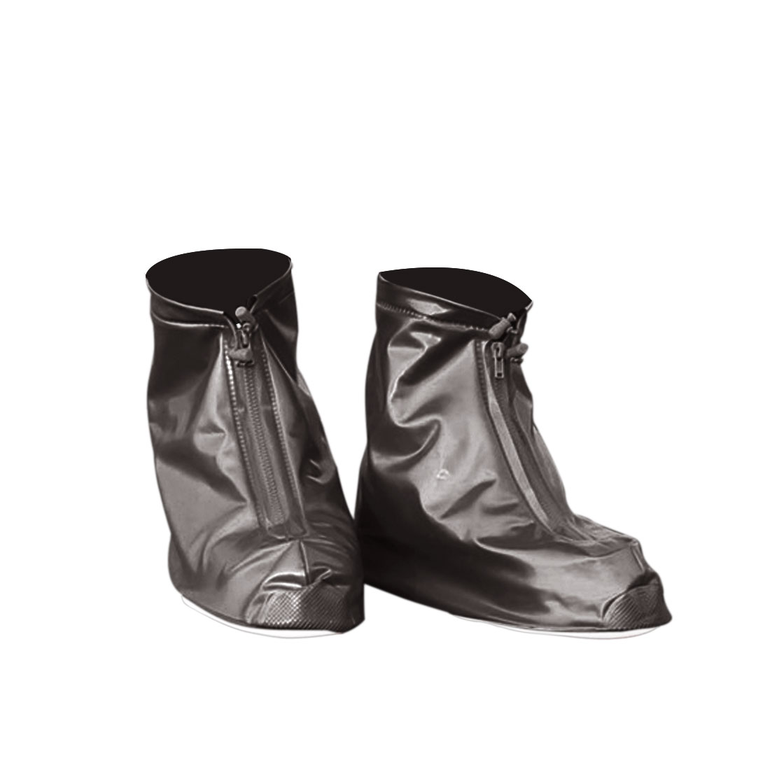 1 Pair Coffee Color Size L Unisex PVC Nonslip Reusable Waterproof Rain Shoes Cover Guard Overshoes