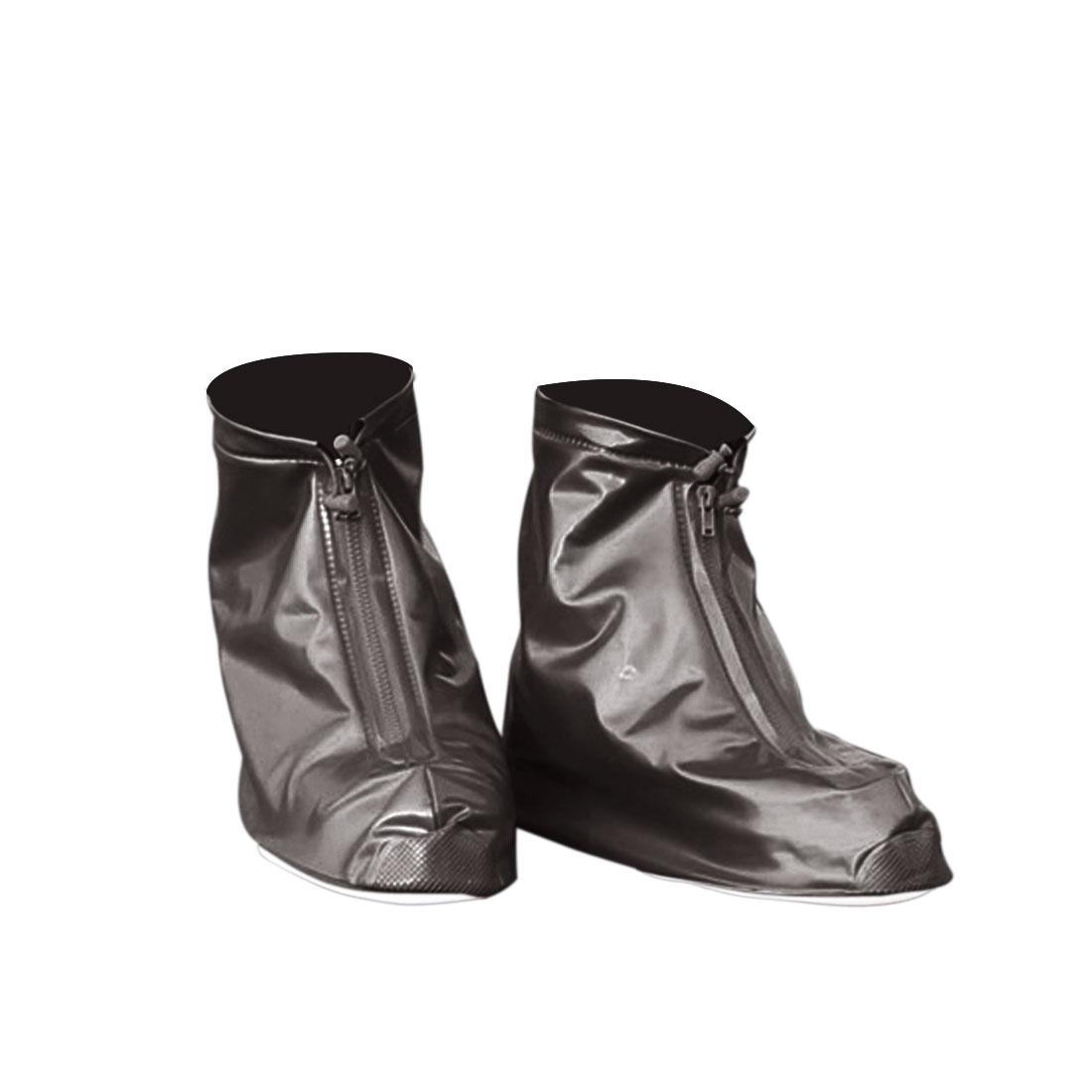 1 Pair Coffee Color Size XL Unisex PVC Nonslip Reusable Waterproof Rain Shoes Cover Guard Overshoes