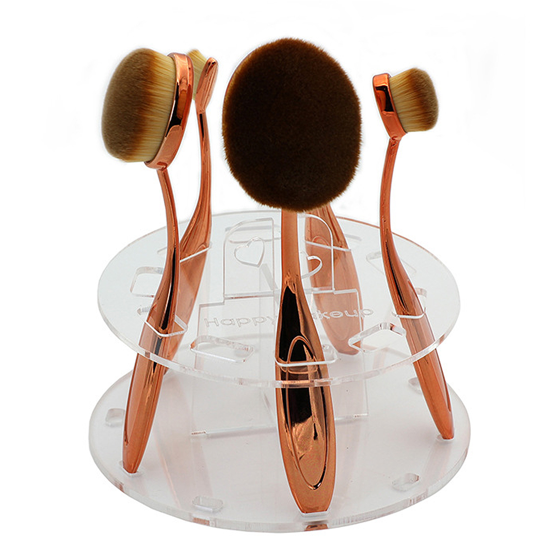 Clear Acrylic 10 Hole Toothbrush Makeup Brush Holder Drying Rack Stand Cosmetic Display Shelf Tool