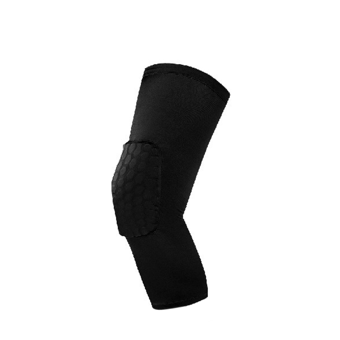 Black L Size Basketball Honeycomb Pad Leg Knee Long Sleeves Support Protector Brace Wrap Guard