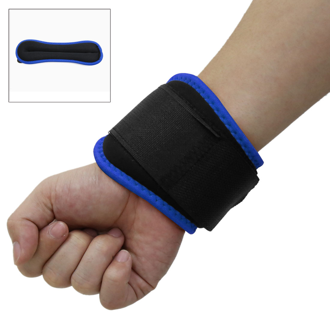 Blue Black Adjustable Hook Loop Closure Wrist Weight Band Wrap Workout Exercise Training Tool