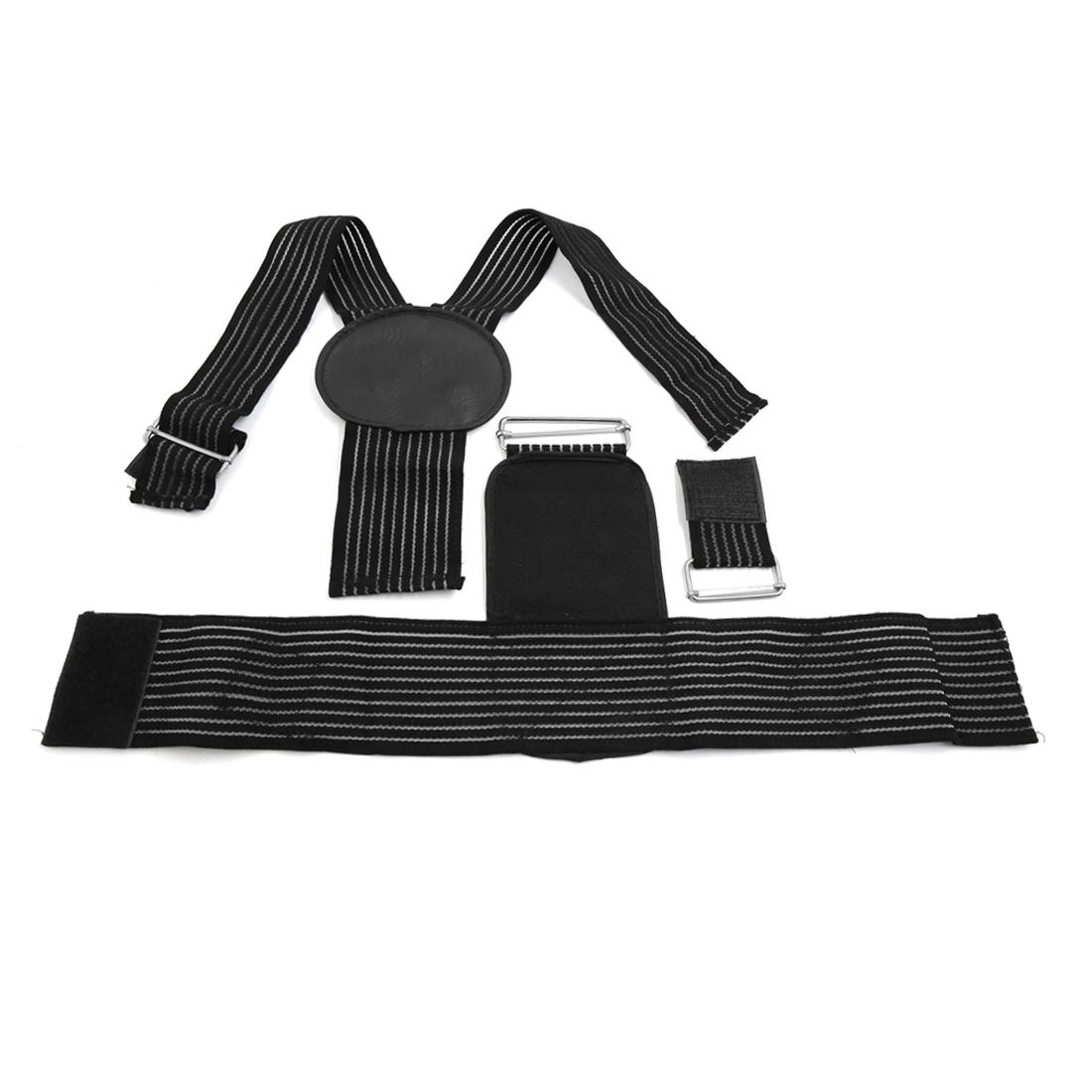 Unisex Black Adjustable Posture Correction Waist Body Shoulder Support Straighten Belt Brace