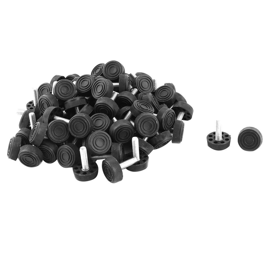 Home Adjustable Skid Resistant Furniture Protector Leveling Foot Black 100pcs