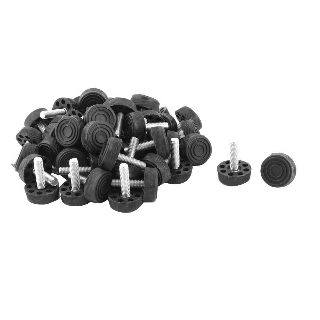 Home Adjustable Skid Resistant Furniture Leg Protector Leveling Foot Black 50pcs