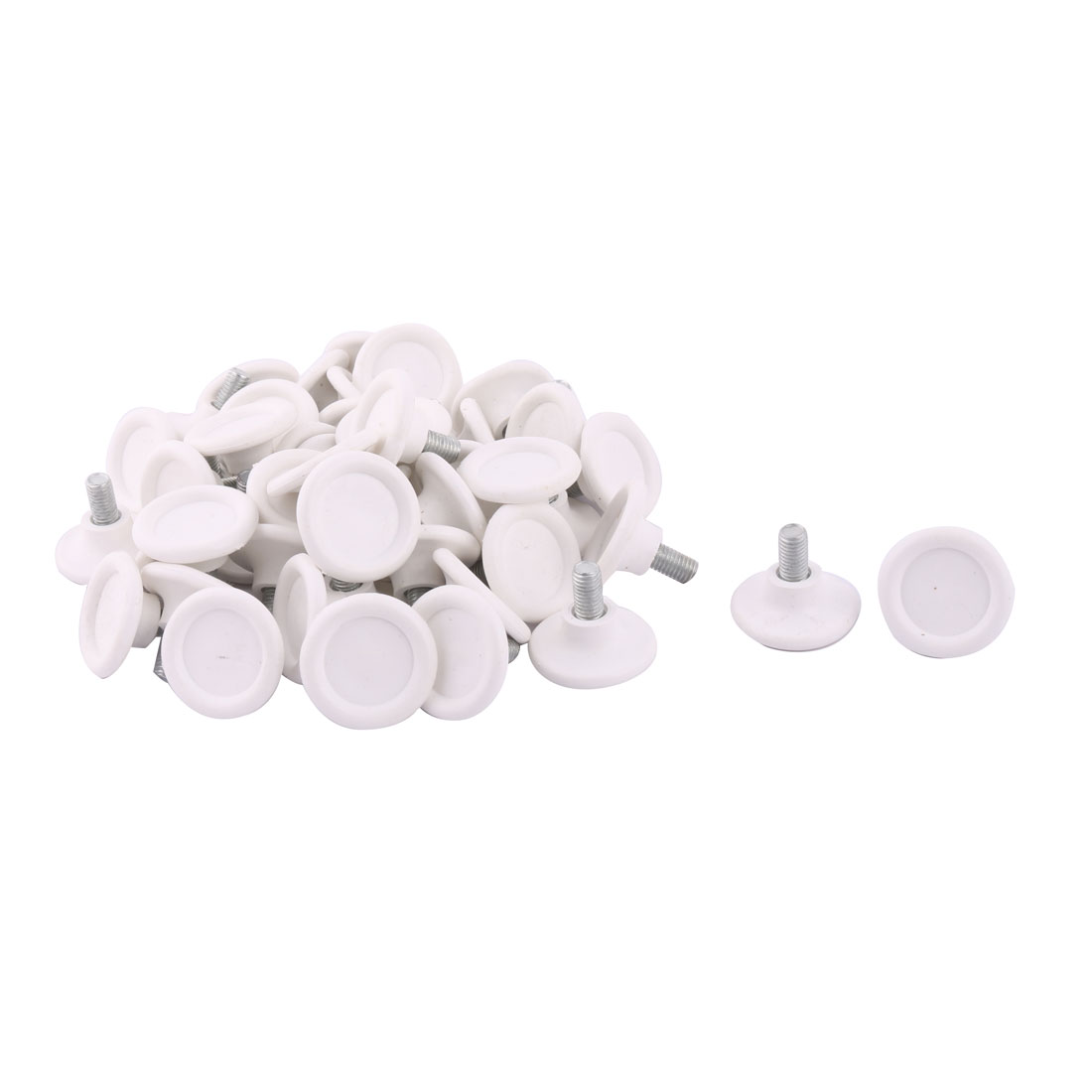 Home Plastic Round Base Adjustable Furniture Leg Protector Leveling Foot White 50pcs