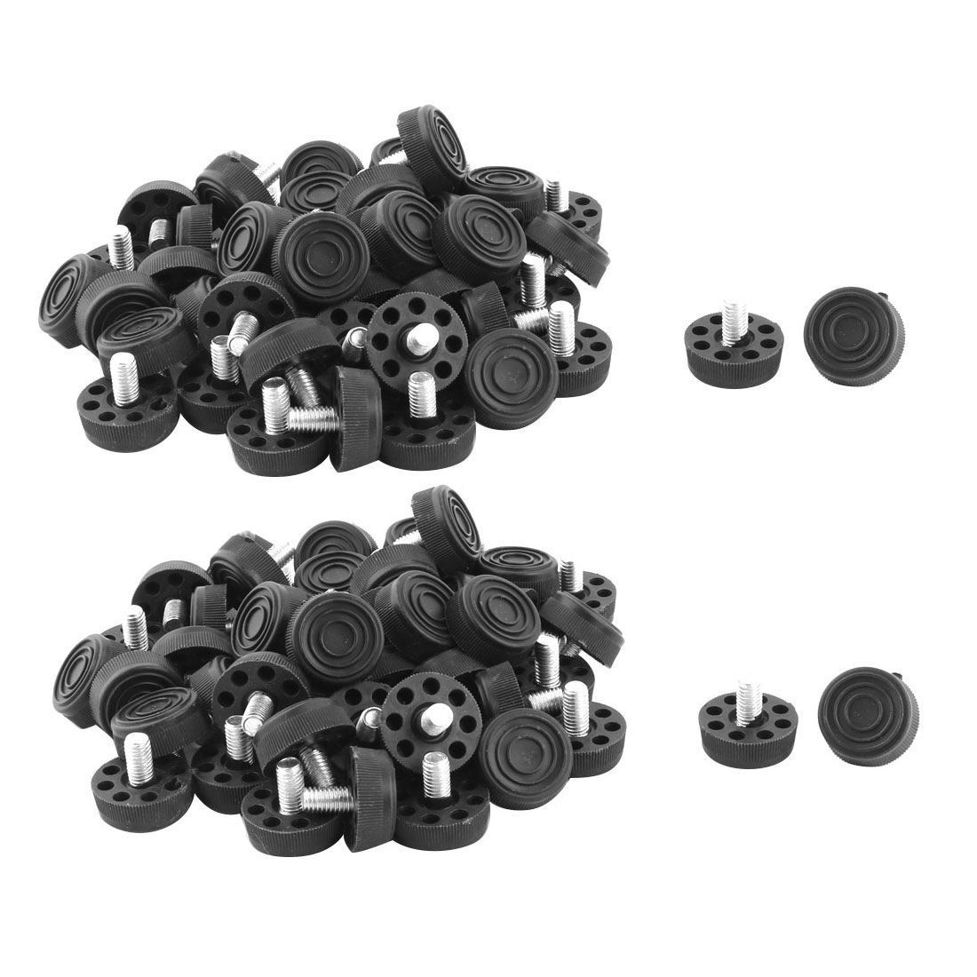 Household Round Base Adjustable Furniture Leg Nonslip Leveling Foot Black 100pcs