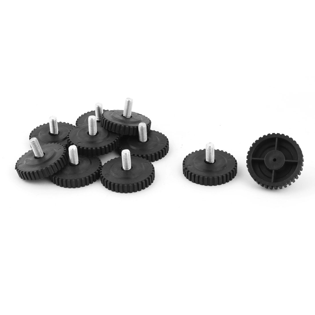 Home Round Skid Resistant Furniture Leg Protector Leveling Foot Nail Black 10pcs